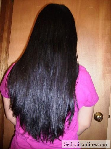 "Beautiful Japanese Black Straight Hair for Sale! 12"" long, 4\"" tick."