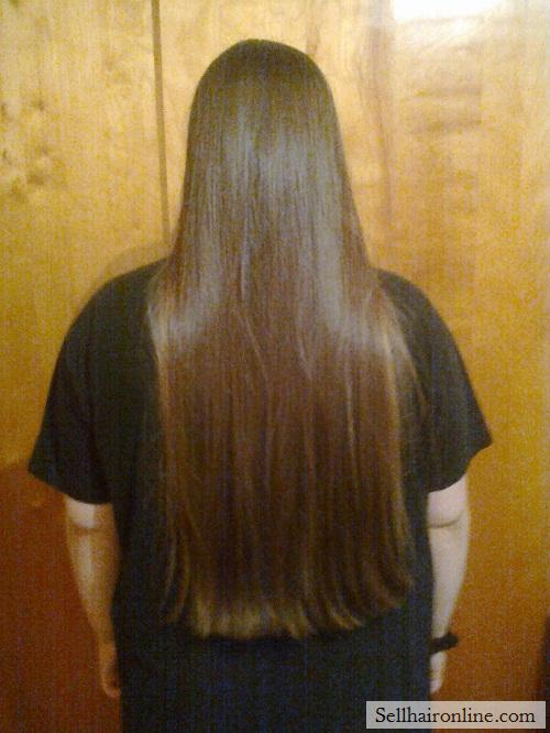 "Selling 13"" Virgin Brunette Hair with Natural Blonde Highlights"
