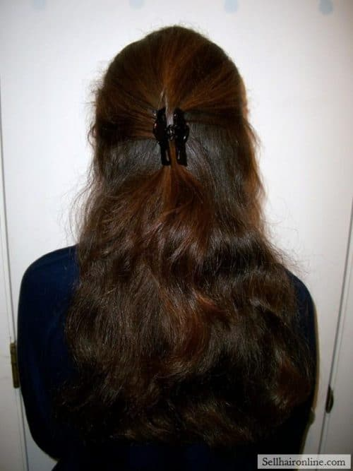 12 Inches of Thick Reddish Brown Virgin Wavy Hair For Sale