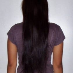 "14"" of VERY HEALTHY straight, dark brown hair"