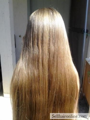 """Childs Virgin (up to 18\"""") Dark blonde hair for sale with Natural highlights"""
