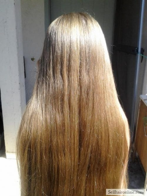 "Childs Virgin (up to 18"") Dark blonde hair for sale with Natural highlights"
