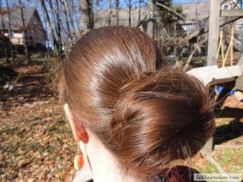 My hair in a bun