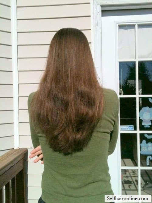 VERY LONG RED HAIR CUT OFF