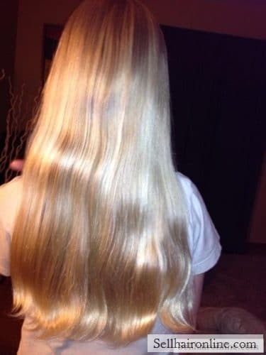 10 year old's Light Blonde hair 12″