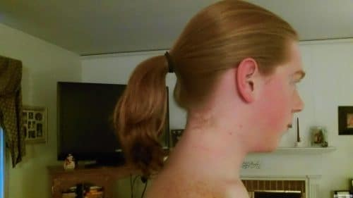 Pony tail from side view