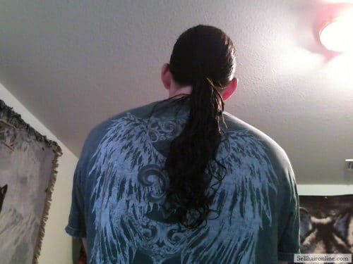 Pre-cut, in ponytail Dark brown hair for sale, 14 inch length