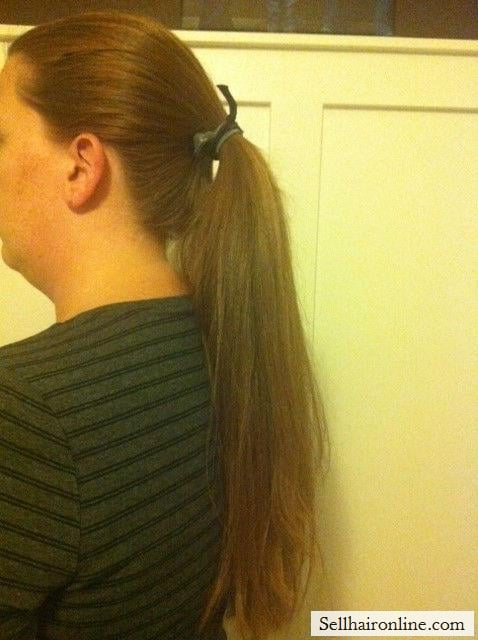 Side ponytail showing 1 1/2 dm thickness