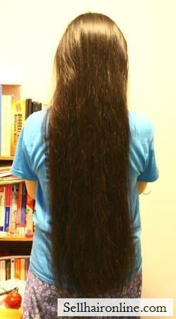 Full length of hair from back