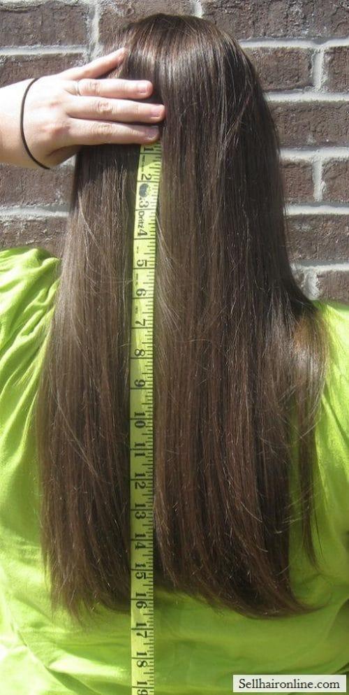 I am selling straight (non-layered), healthy, medium to dark brown virgin hair
