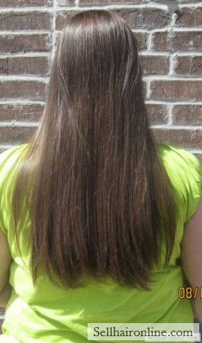 I am selling 15-18 inches of straight (non-layered), healthy, medium to dark brown virgin hair