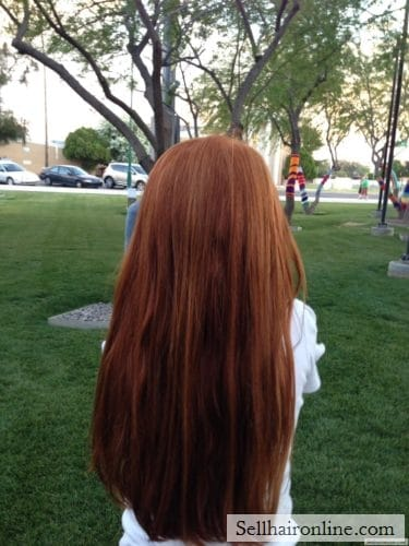 Rare Copper Red child's virgin hair over 10″