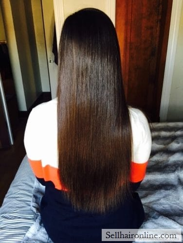 "12-14"" of Soft, Straight Virgin Medium Brown Hair For Sale"